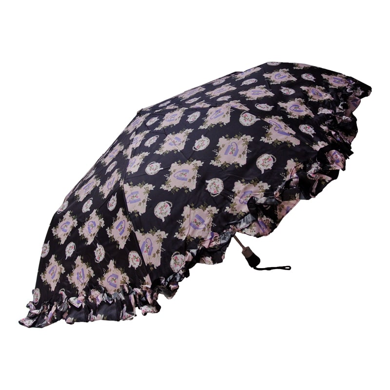 Folding Black Umbrella-Tea Time