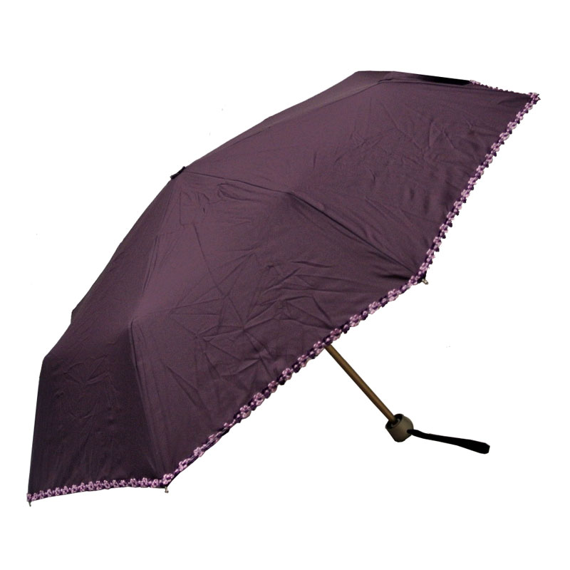 Guy de Jean Mini Purple Umbrella with Flowers Edging